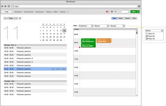 appointmed Kalendar Wireframe