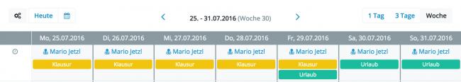 Darstellung von Urlauben und Fehlzeiten im Kalender
