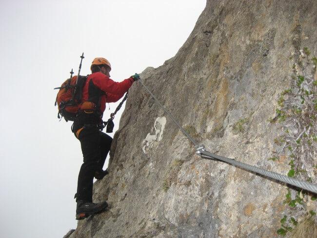 Mario am Klettersteig