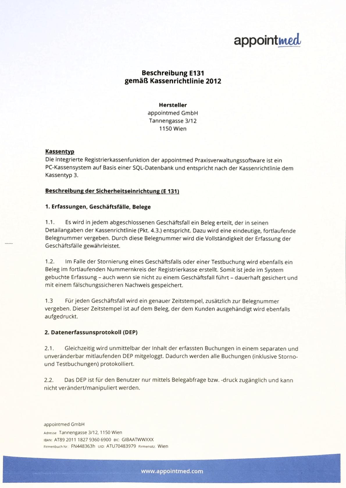 E131 Erklärung Registrierkasse