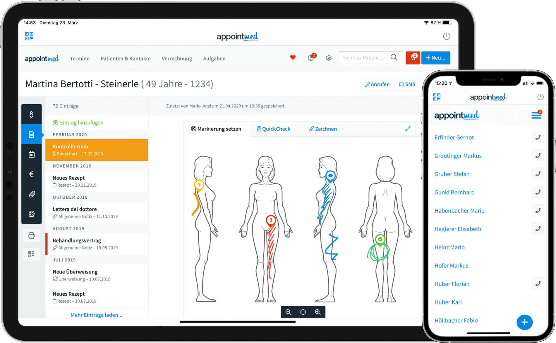 Patientenakte mit Bodychart am Tablet und Smartphone
